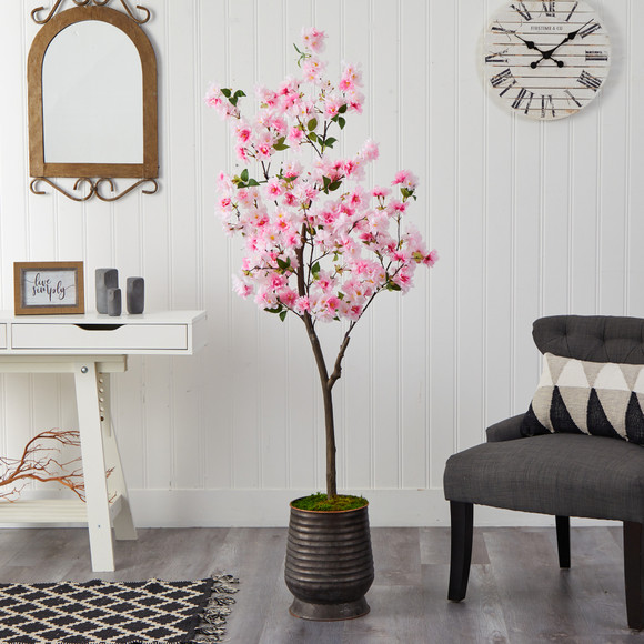 5.5 Cherry Blossom Artificial Tree in Ribbed Metal Planter - SKU #T2533 - 2