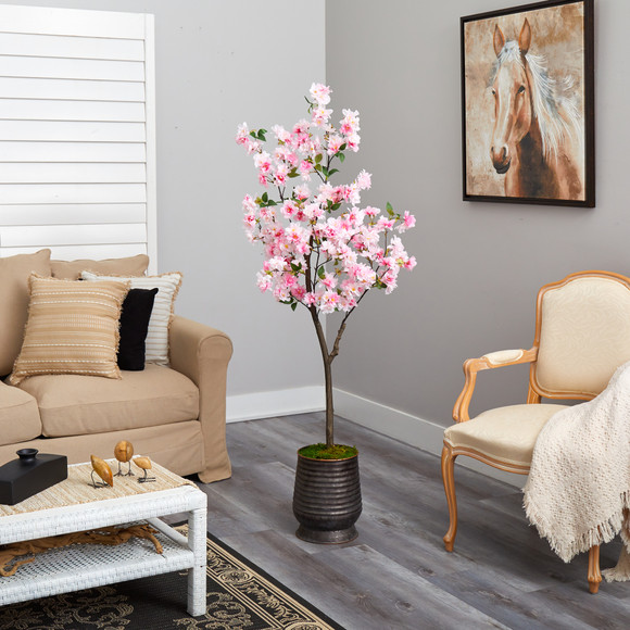 5.5 Cherry Blossom Artificial Tree in Ribbed Metal Planter - SKU #T2533 - 3
