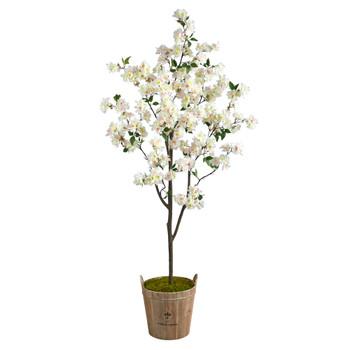 6 Cherry Blossom Artificial Tree in Farmhouse Planter - SKU #T2534