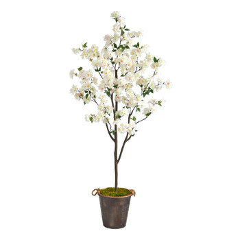 6 Cherry Blossom Artificial Tree in Decorative Metal Pail with Rope - SKU #T2535