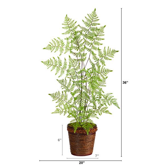 3 Ruffle Fern Artificial Tree in Basket - SKU #T2537 - 1
