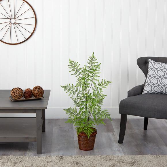 3 Ruffle Fern Artificial Tree in Basket - SKU #T2537 - 2