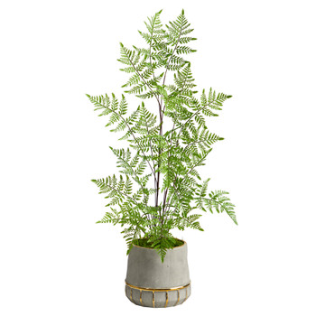 3 Ruffle Fern Artificial Tree in Stoneware Planter with Gold Trimming - SKU #T2538