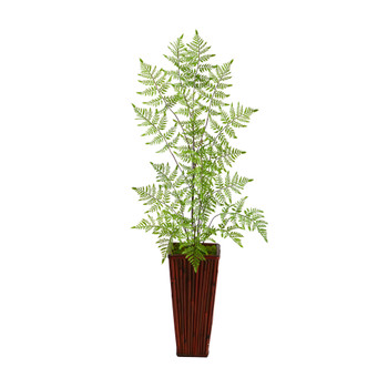 3.5 Ruffle Fern Artificial Tree in Bamboo Planter - SKU #T2539