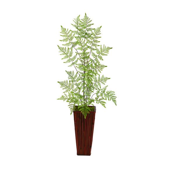3.5 Ruffle Fern Artificial Tree in Bamboo Planter - SKU #T2539