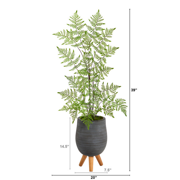39 Ruffle Fern Artificial Tree in Gray Planter with Stand - SKU #T2540 - 1
