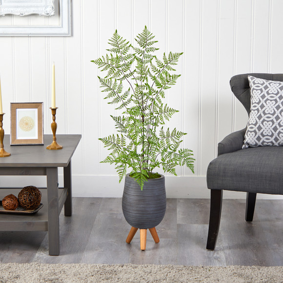 39 Ruffle Fern Artificial Tree in Gray Planter with Stand - SKU #T2540 - 2