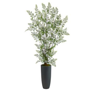 5 Ruffle Fern Artificial Tree in Gray Planter - SKU #T2541