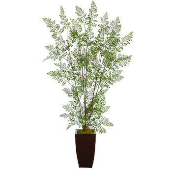 58 Ruffle Fern Artificial Tree in Bronze Metal Planter - SKU #T2542