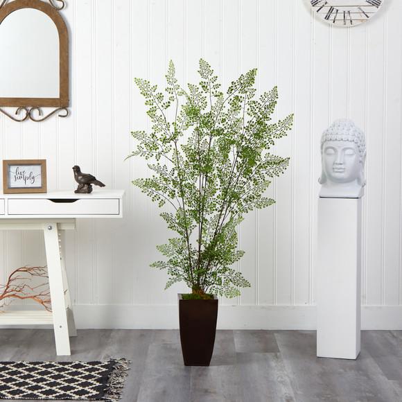 58 Ruffle Fern Artificial Tree in Bronze Metal Planter - SKU #T2542 - 2