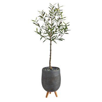4.5 Olive Artificial Tree in Gray Planter with Stand - SKU #T2548