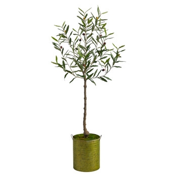 4.5 Olive Artificial Tree in Green Planter - SKU #T2549