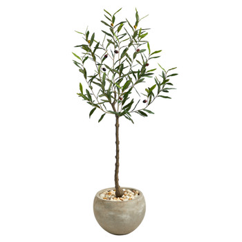50 Olive Artificial Tree in Sand Colored Planter - SKU #T2550