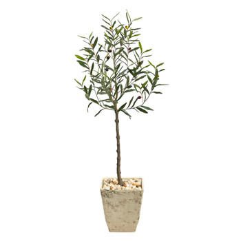 52 Olive Artificial Tree in Country White Planter - SKU #T2551