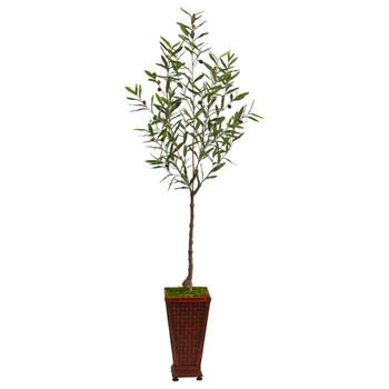 69 Olive Artificial Tree in Decorative Planter - SKU #T2552