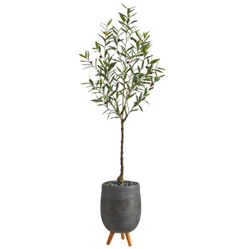 70 Olive Artificial Tree in Gray Planter with Stand - SKU #T2554