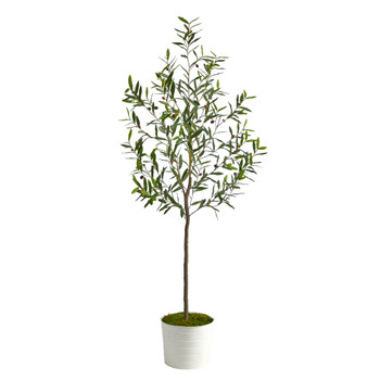 70 Olive Artificial Tree in White Tin Planter - SKU #T2555
