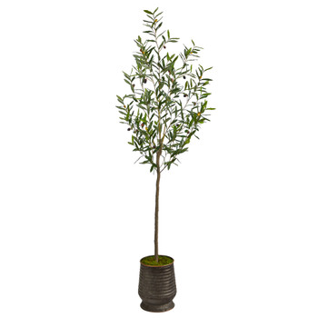 75 Olive Artificial Tree in Ribbed Metal Planter - SKU #T2556