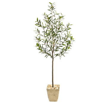 75 Olive Artificial Tree in Country White Planter - SKU #T2557