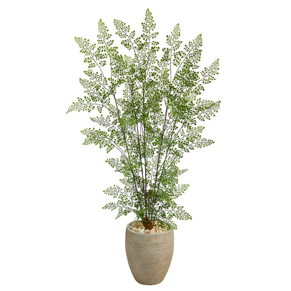 58 Ruffle Fern Artificial Tree in Sand Colored Planter - SKU #T2558
