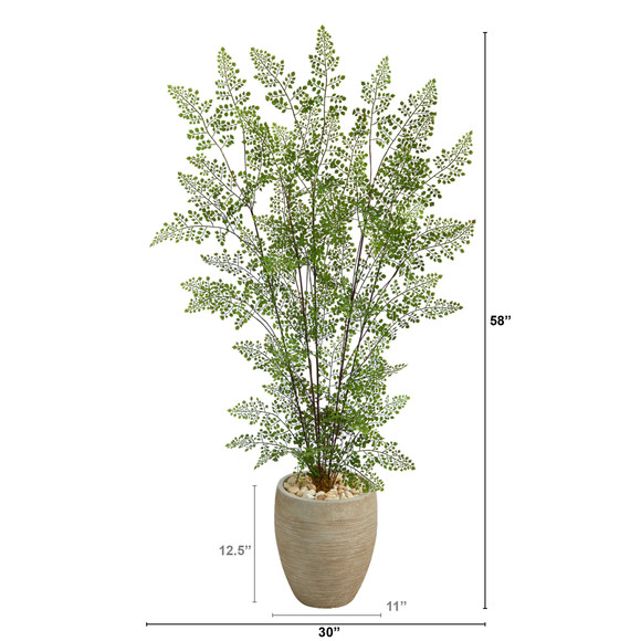 58 Ruffle Fern Artificial Tree in Sand Colored Planter - SKU #T2558 - 1