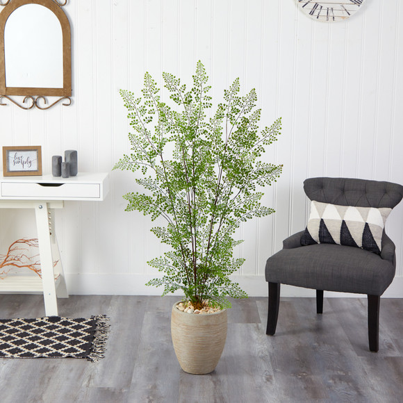 58 Ruffle Fern Artificial Tree in Sand Colored Planter - SKU #T2558 - 2