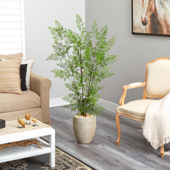 58 Ruffle Fern Artificial Tree in Sand Colored Planter - SKU #T2558 - 3
