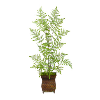 3 Ruffle Fern Artificial Tree in Metal Planter - SKU #T2560