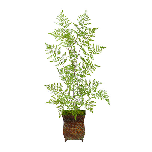3 Ruffle Fern Artificial Tree in Metal Planter - SKU #T2560