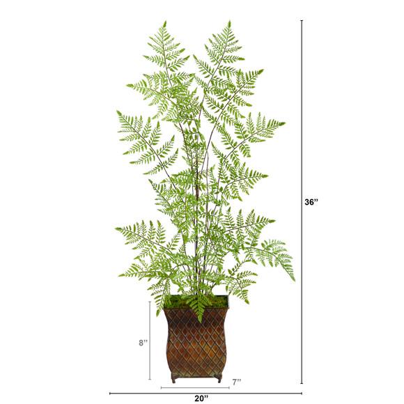 3 Ruffle Fern Artificial Tree in Metal Planter - SKU #T2560 - 1