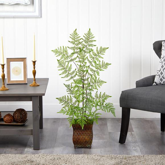 3 Ruffle Fern Artificial Tree in Metal Planter - SKU #T2560 - 2