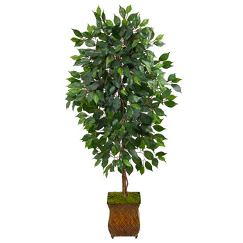 51 Ficus Artificial Tree in Metal Planter - SKU #T2563