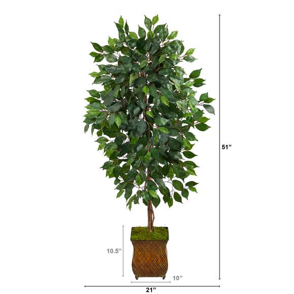 51 Ficus Artificial Tree in Metal Planter - SKU #T2563 - 1