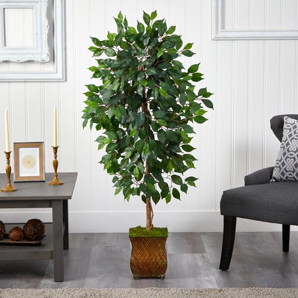 51 Ficus Artificial Tree in Metal Planter - SKU #T2563 - 2