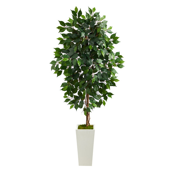 4.5 Ficus Artificial Tree in White Planter - SKU #T2564