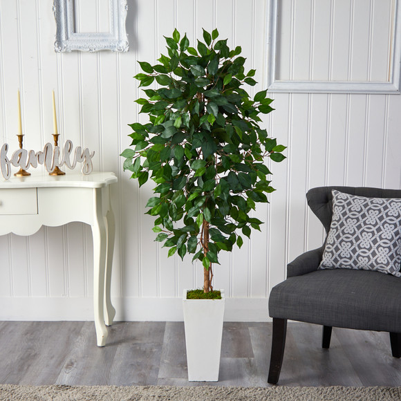 4.5 Ficus Artificial Tree in White Planter - SKU #T2564 - 2