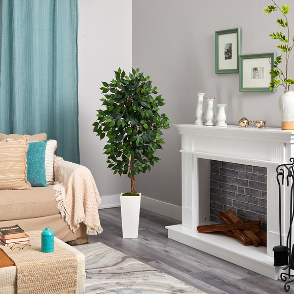 4.5 Ficus Artificial Tree in White Planter - SKU #T2564 - 3