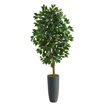 5 Ficus Artificial Tree in Gray Planter - SKU #T2565