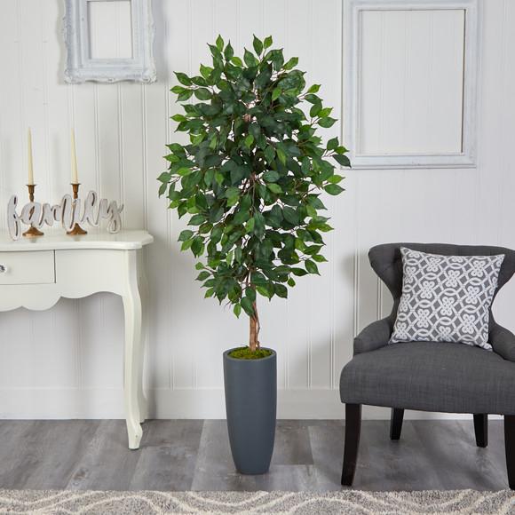 5 Ficus Artificial Tree in Gray Planter - SKU #T2565 - 2
