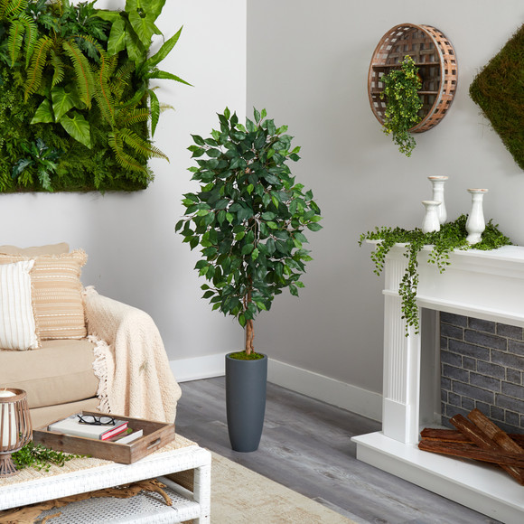 5 Ficus Artificial Tree in Gray Planter - SKU #T2565 - 3