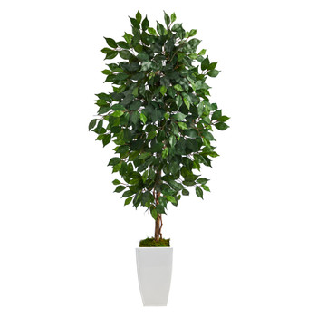 4.5 Ficus Artificial Tree in White Metal Planter - SKU #T2566