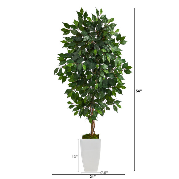 4.5 Ficus Artificial Tree in White Metal Planter - SKU #T2566 - 1