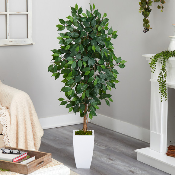 4.5 Ficus Artificial Tree in White Metal Planter - SKU #T2566 - 2