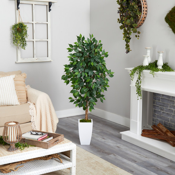 4.5 Ficus Artificial Tree in White Metal Planter - SKU #T2566 - 3
