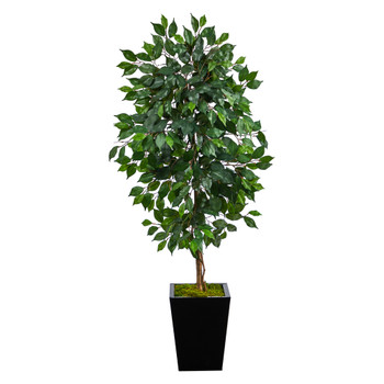 5 Ficus Artificial Tree in Black Metal Planter - SKU #T2567