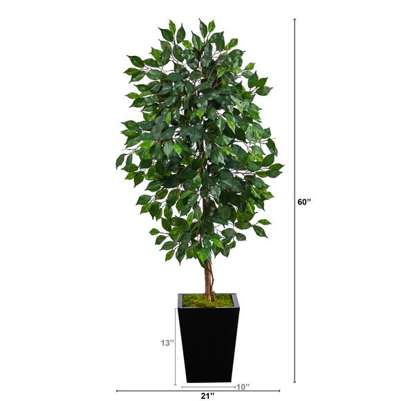 5 Ficus Artificial Tree in Black Metal Planter - SKU #T2567 - 1