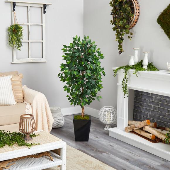 5 Ficus Artificial Tree in Black Metal Planter - SKU #T2567 - 3
