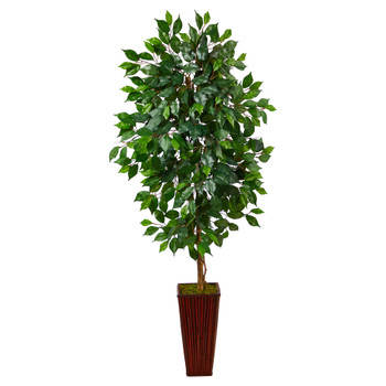 5 Ficus Artificial Tree in Bamboo Planter - SKU #T2568