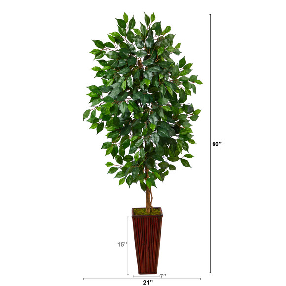 5 Ficus Artificial Tree in Bamboo Planter - SKU #T2568 - 1