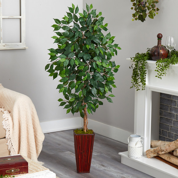 5 Ficus Artificial Tree in Bamboo Planter - SKU #T2568 - 2